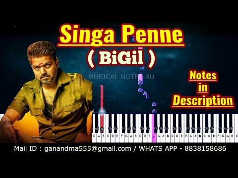 singa-penne-piano-notes-|-bigil-|-a.r-rahman-|-tutorial-|-keyboard-|-karaoke-|-sheet-music-|-cover