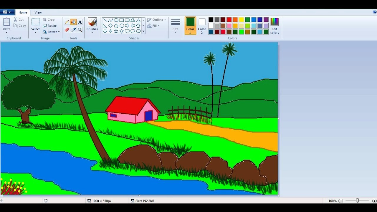 How to draw a Scenery in MS Paint l MS Paint Tutorial l ...