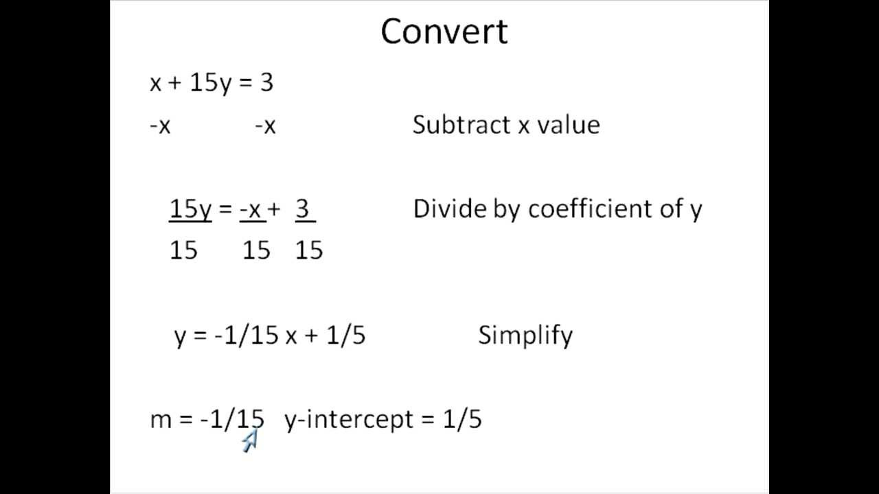 Converting from standard form to slope intercept form simplifying converting from standard form to slope intercept form simplifying math youtube falaconquin