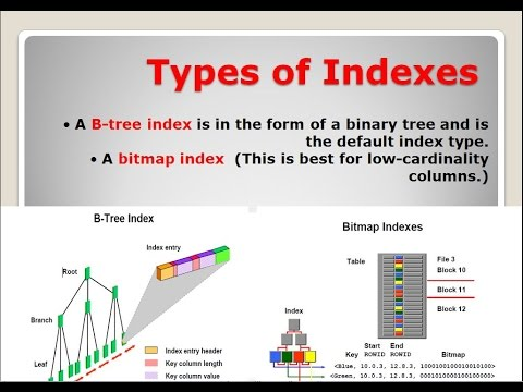 Types of Indexes A Btree index,A bitmap index