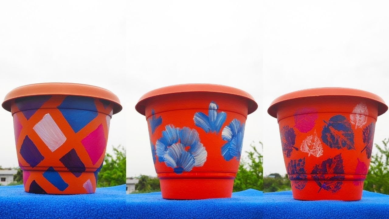 3 Best Flower Pot Painting Ideas Diy Planter Decoration 3 Pots Youtube