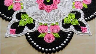 Beautiful rose rangoli design with colours l rangoli designs with 4 colours l रंगोली डिजाइन rangoli