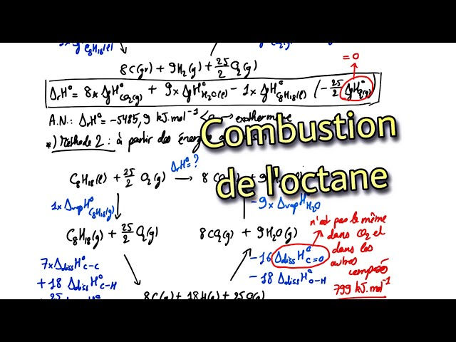 🔥 Combustion de l'octane liquide / Application du cours de thermochimie du premier principe