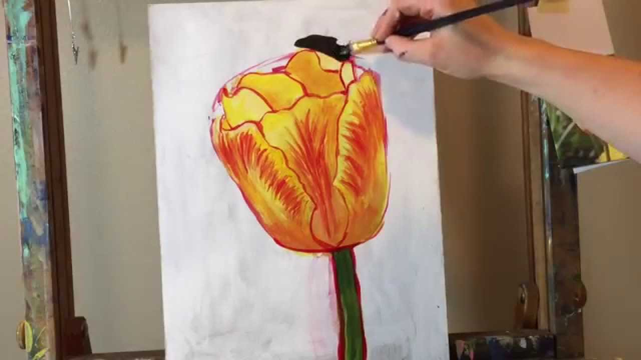 Acrylic Tulip Painting Tutorial Youtube