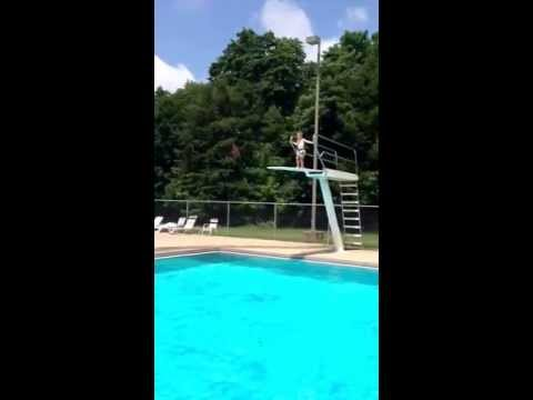 Holden going off the high dive at Versailles State Park