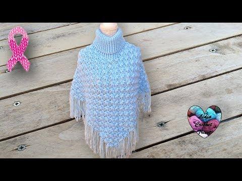 CONCOURS!!! Poncho point fleuri en relief Crochet Magnifique