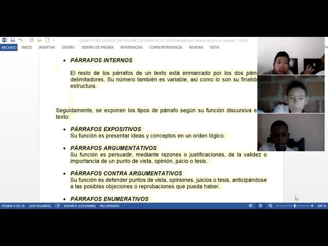 28/05/2021 quinto dos castellano: tipos de párrafos semana 15