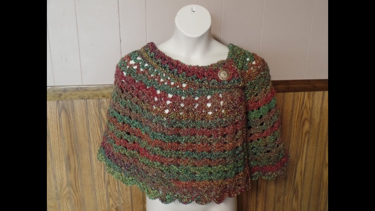 Learn How to Crochet Womans Cozy Capelet Shawl Poncho Crochet ...