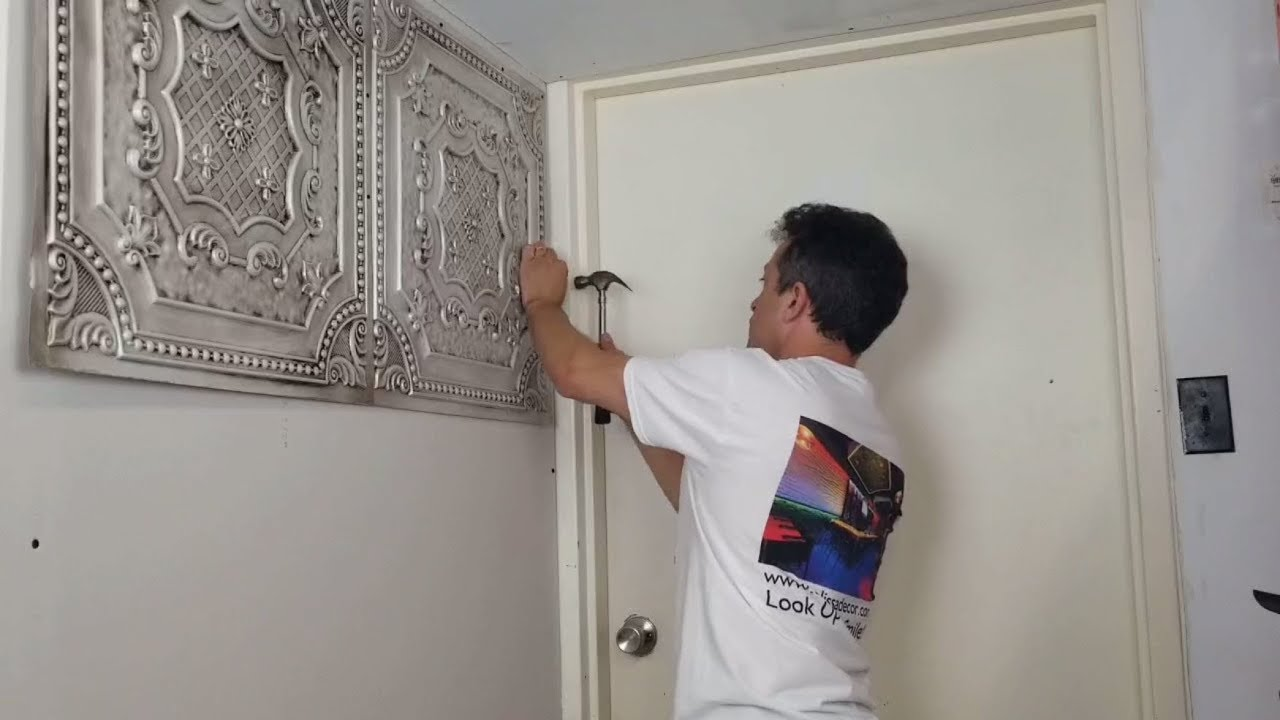 how to install faux tin ceiling tiles with nails talissa decor