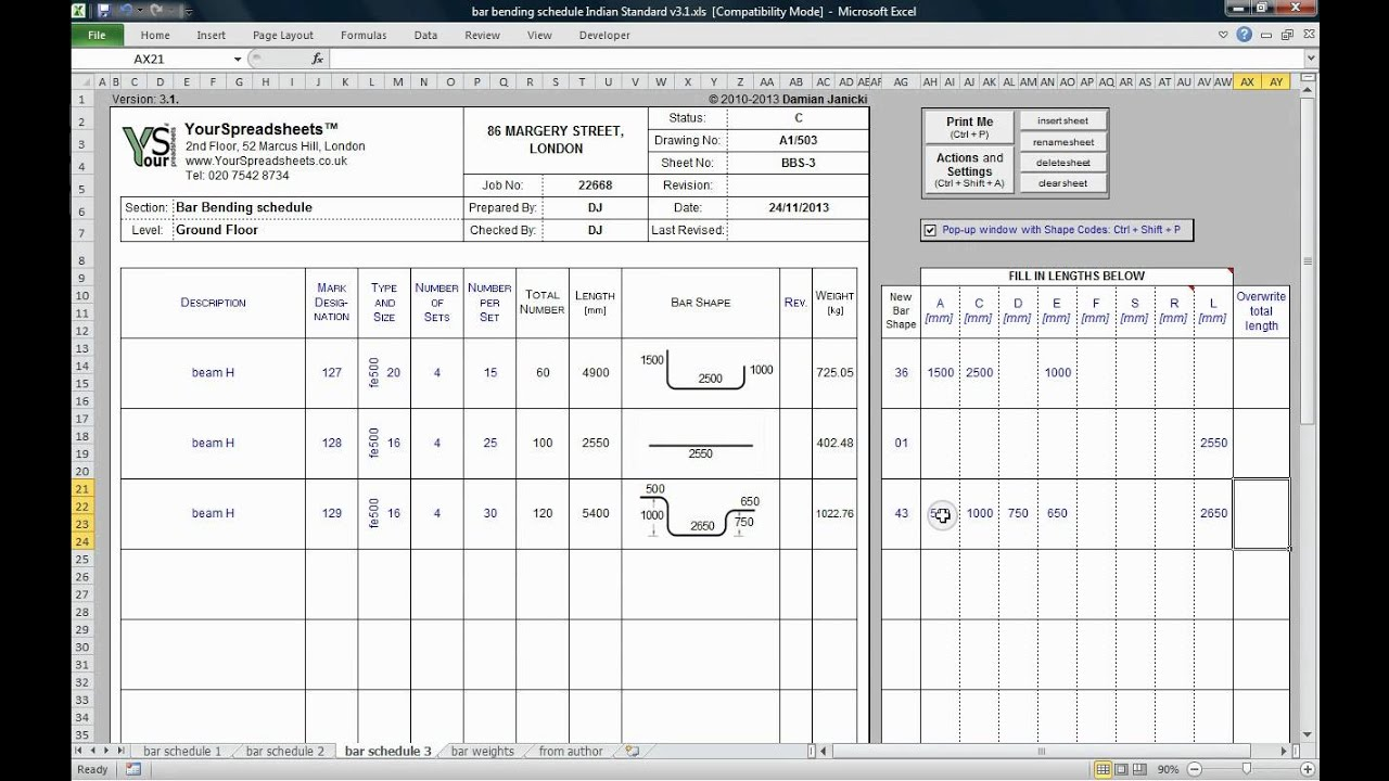 How To Remove Kitchen Cabinet Bar Bending Schedule To Is 2502 Spreadsheet Main