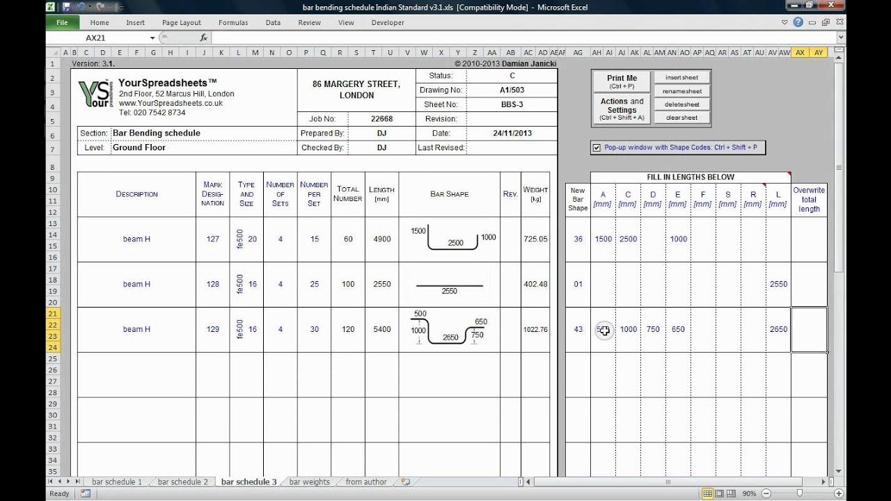 Bar Bending Schedule To Is Spreadsheet