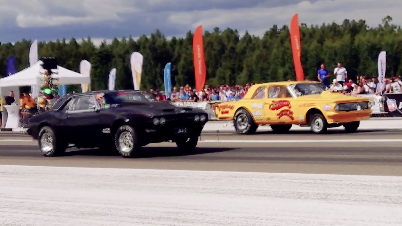 '64 Plymouth Valiant V100 vs '68 Pontiac Firebird 1/4 mile drag race