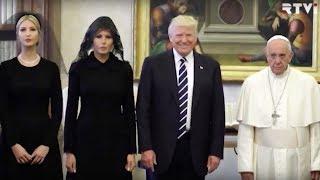 Трамп за границей: танец с саблями, траурное платье Мелании и грустный Папа Франциск