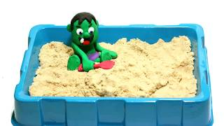 Baby Hulk Water Sand beach 💕 Play Doh Stop Motion videos for children
