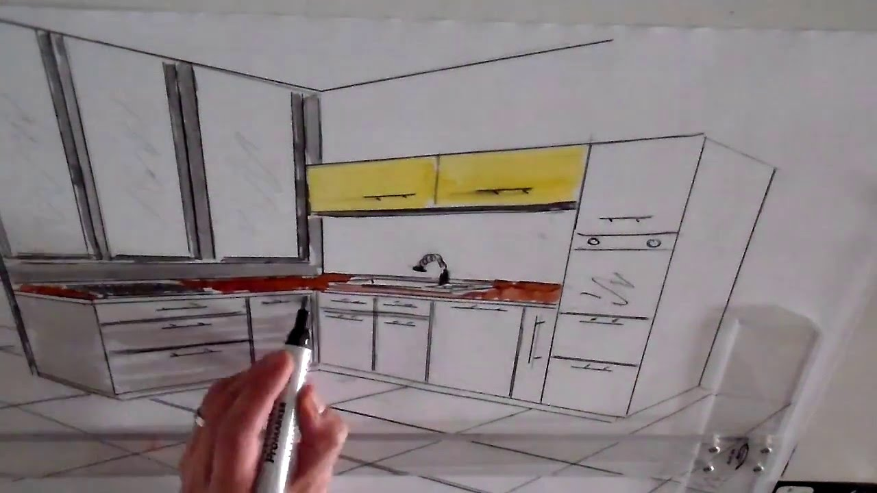 dessin cuisine en perspective architecture d 39 int rieur youtube. Black Bedroom Furniture Sets. Home Design Ideas