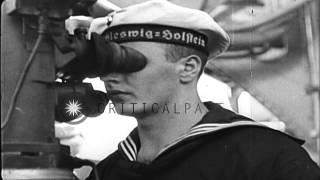 German Battleship SMS Schleswig Holstein bombarding Gdansk,Poland in World War II...HD Stock Footage