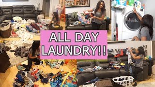 ALL DAY LAUNDRY // 15 LOADS OF LAUNDRY // CLEANING MOTIVATION // CLEAN WITH ME // LAUNDRY FOLDING