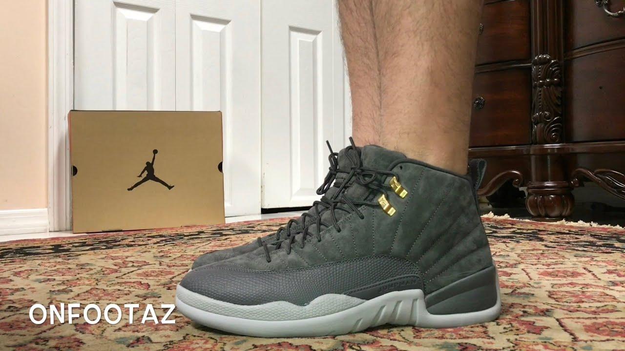 differently 192ac b49d7 Air Jordan 12 XII Dark Grey Wolf Grey On Foot