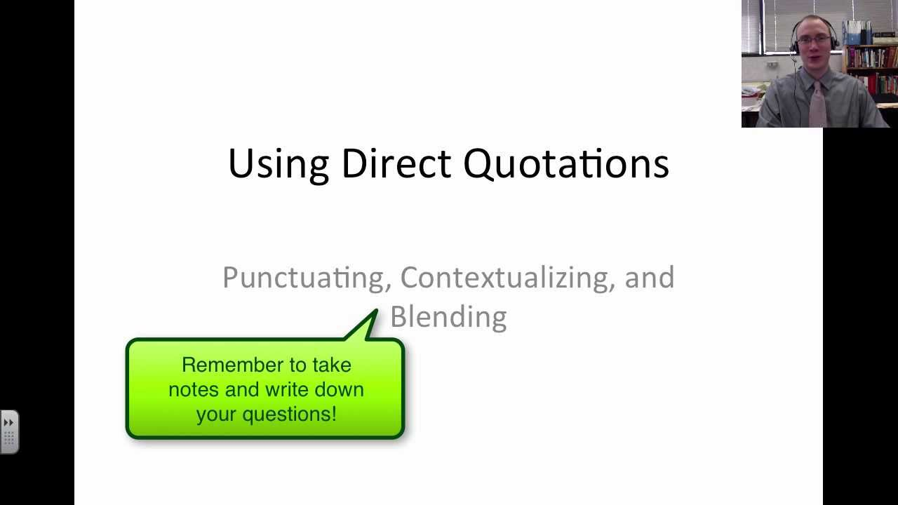 Punctuation With Quotes Punctuating Contextualizing And Blending Quotations  Youtube