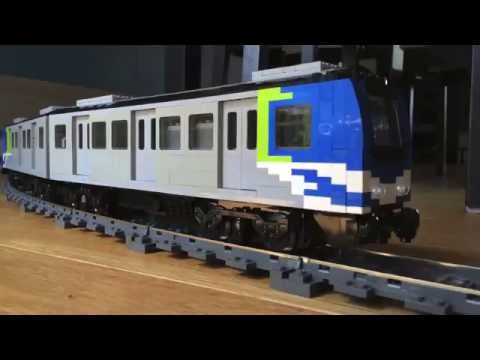 LEGO Canada Line public transit custom model train on elevated layout