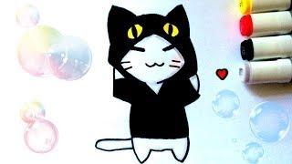 КАК РИСОВАТЬ КОТЕНКА В КОСТЮМЕ ♥ HOW TO DRAW A CAT ♥ CUTE DRAWINGS ♥ KAWAII ♥ SUPER CAT