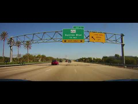 Driving on the Sawgrass Expressway from Weston, Florida to Coconut Creek