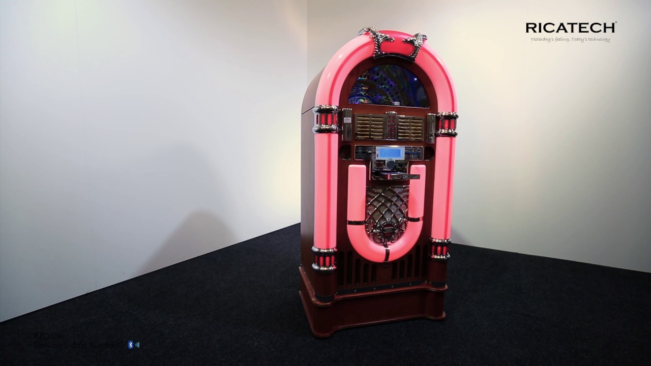 Ricatech RR3100 Full-size 7-colour LED Retro Jukebox with Bluetooth,  turntable, CD, USB, SD, radio
