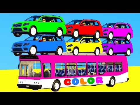 Thumbnail: LEARN COLORS with SUV Cars on BUS & Spiderman Cartoon 3D w Superheroes for kids and babies