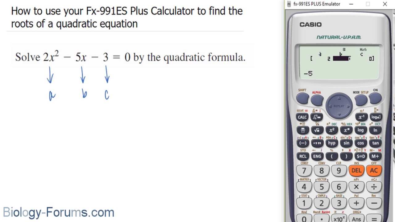 How To Use Your Fx 991es Plus Calculator Find The Roots Of A Quadratic Equation