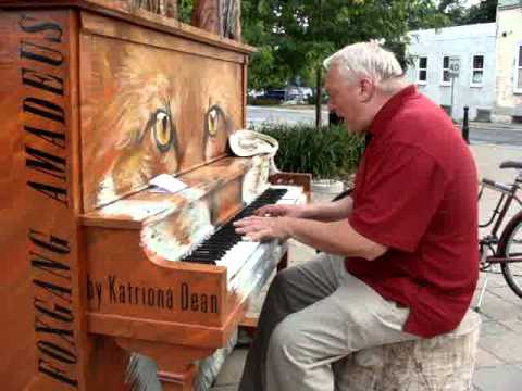 Talented man on street piano, Michael McNamara Perfect-Hedley