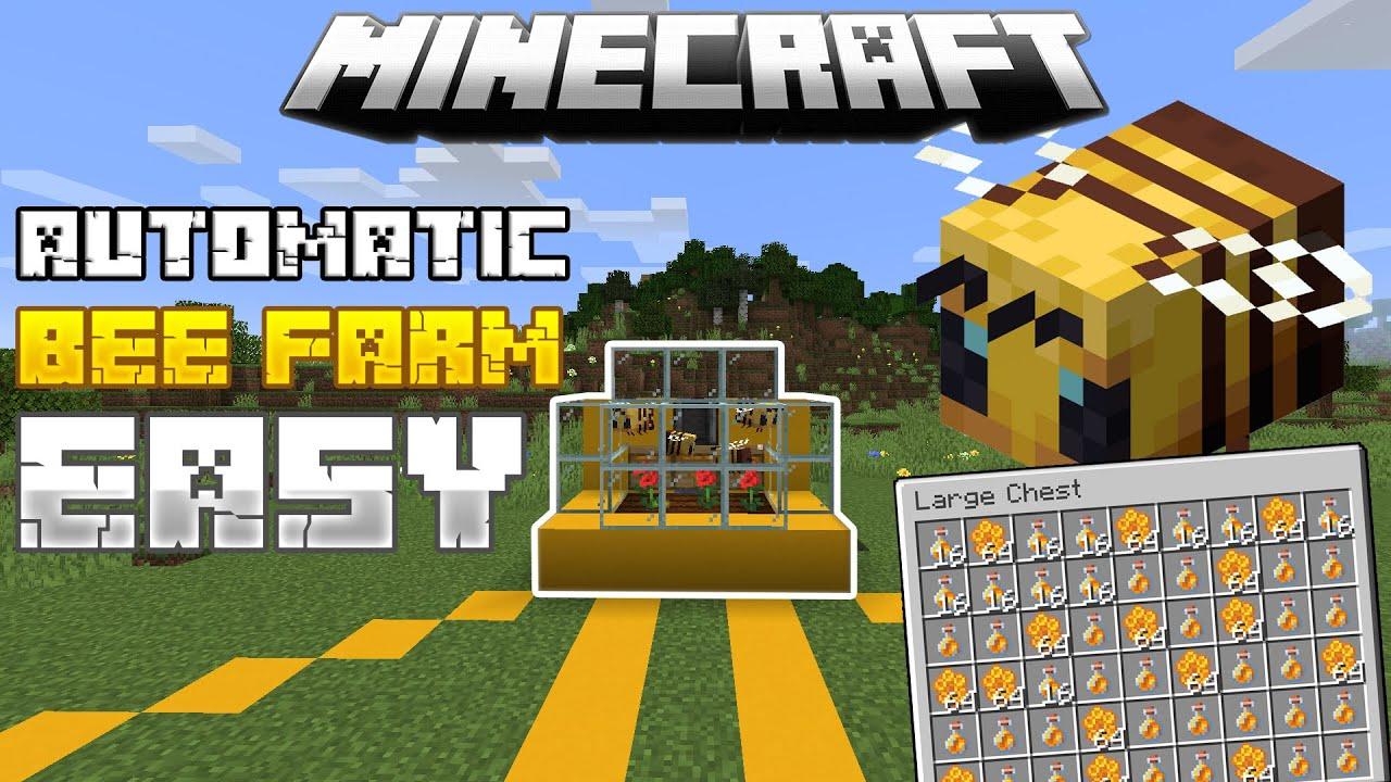 Minecraft AUTOMATIC BEE FARM 🍯 | Honey + Honeycomb Farm ...