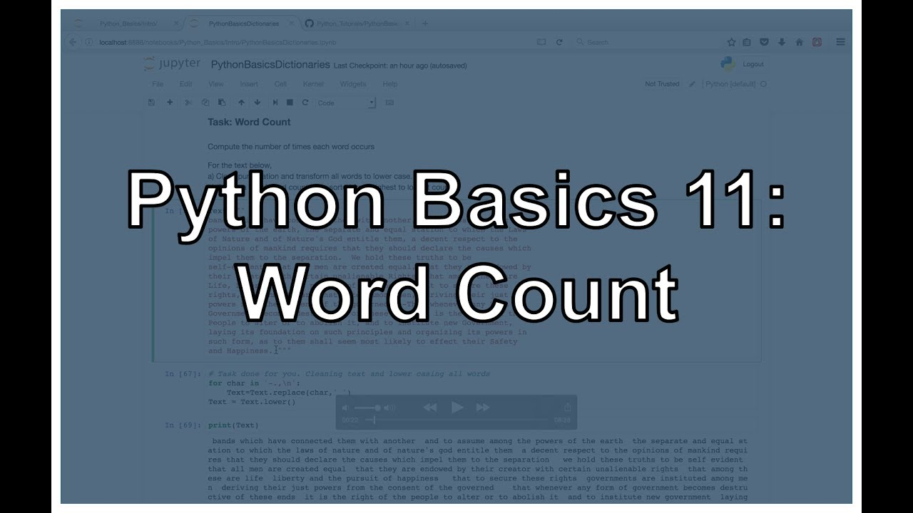 Python Word Count (Filter out Punctuation, Dictionary Manipulation, and  Sorting Lists)