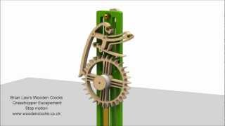 Brian Law's Wooden Clocks - Grasshopper Escapement - Stop Motion