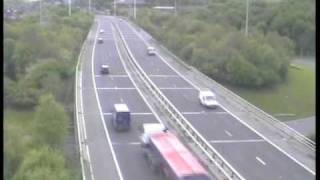 **ORIGINAL** Truck blind spot accident caught on police camera Motorway M621 (M62 Crash Leeds UK)