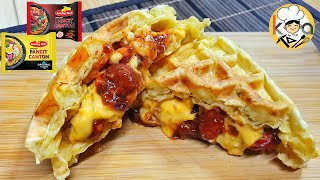 LEVEL UP YOUR INSTANT PANCIT CANTON AND TURN IT INTO SAVORY AND DELICIOUS WAFFLE SANDWICH
