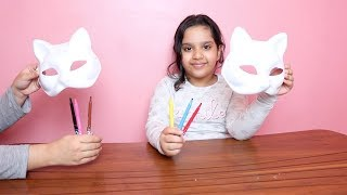 تحدي التلوين ب3 ألوان قناع القطة ! ! 3 color mask challenge