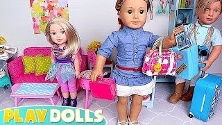 Dolls Packing Suitcases For Family Vacation