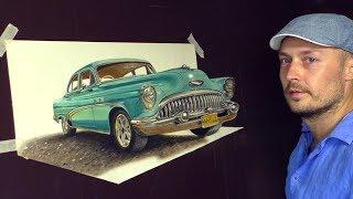 Cuba Classic Car speed drawing in 3D