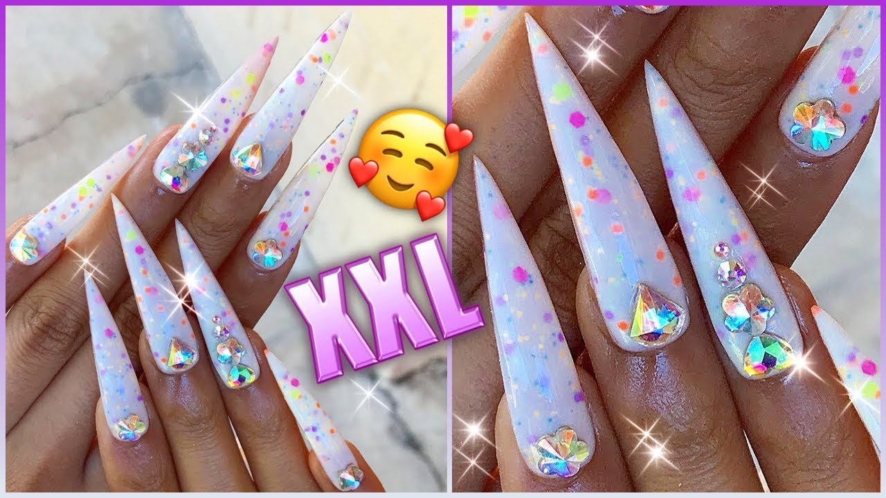 Bday Cake Icing Cheese Candy Extra Long Stiletto Press On Nails Youtube