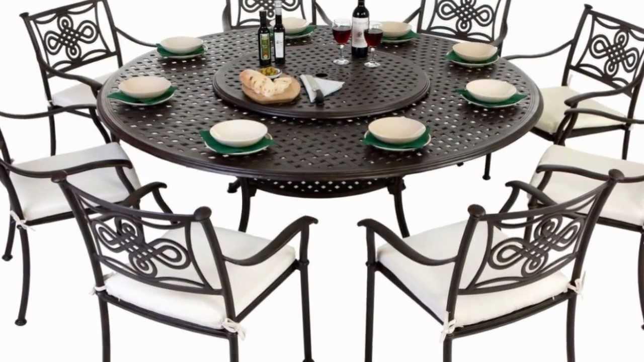 round 8 seater cast aluminium garden furniture set with seat pads