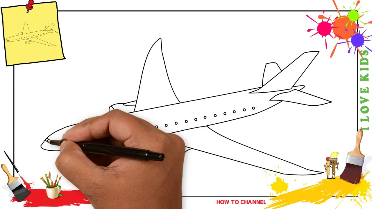 How To Draw A Plane 2 Simple Easy Slowly Step By Step For Kids