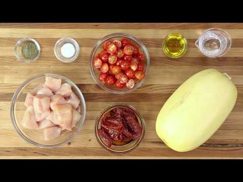 Paleo Spaghetti Squash With Chicken & Sun-Dried Tomato Sauce