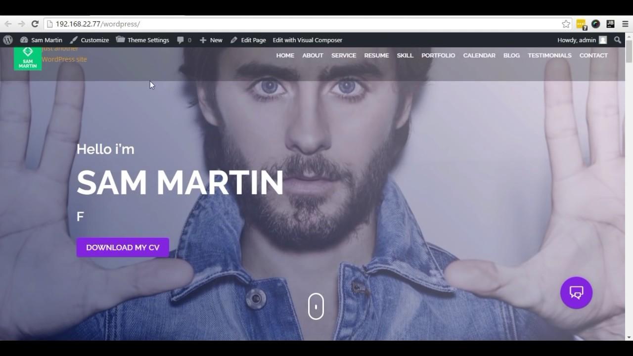 Sam Martin Personal Vcard Resume Wordpress Theme Instructional