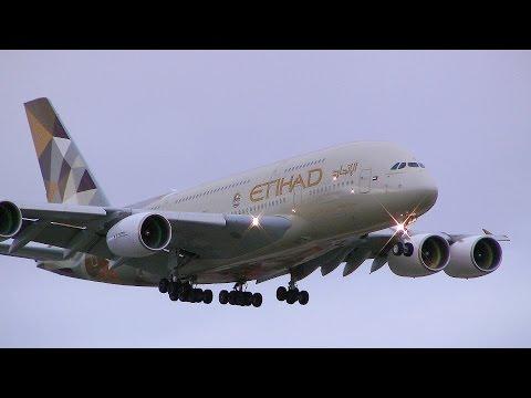 Emirates 777 & Etihad A380 Landing - Sydney Airport 16R
