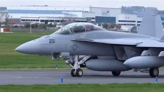 US Navy F-18 Super Hornets and Omega DC-10 Tanker - Prestwick [4K/UHD]