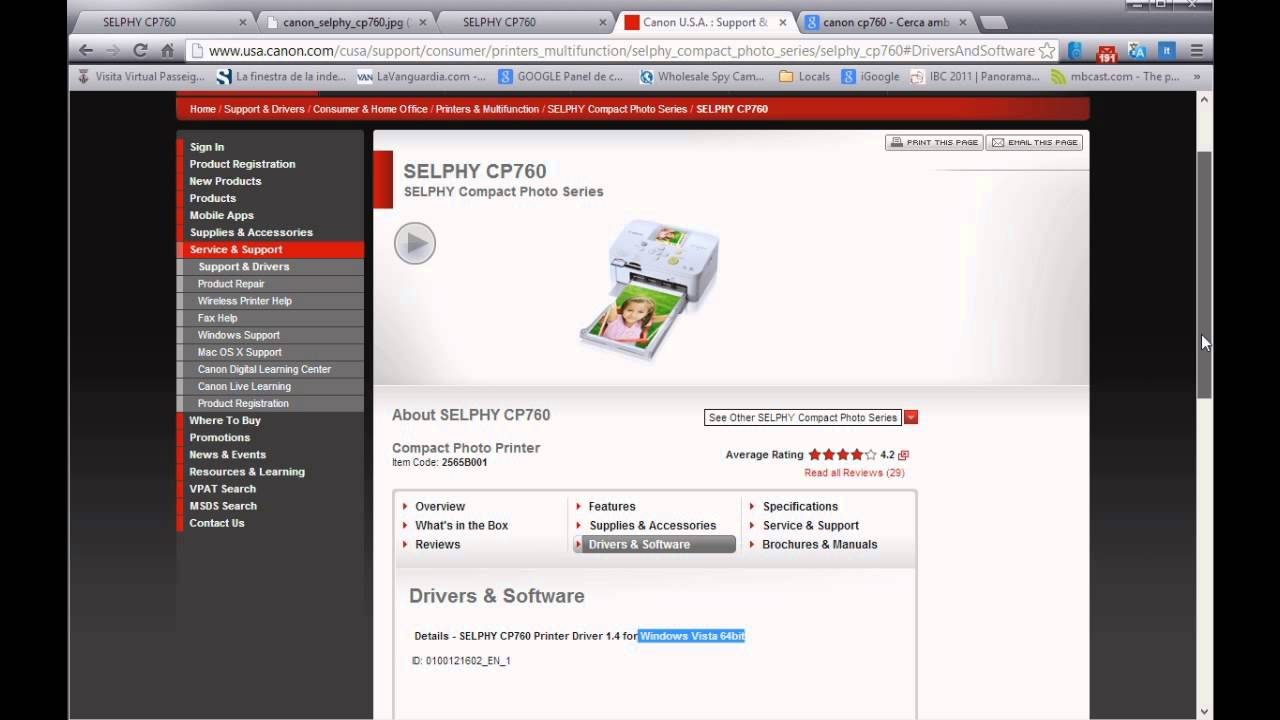 Selphy printers support download drivers, software, manuals.