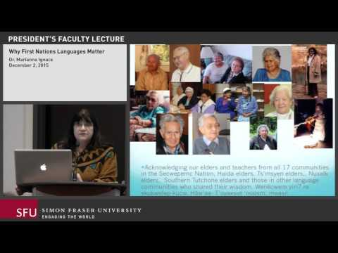 SFU President's Faculty Lecture: Dr. Marianne Ignace