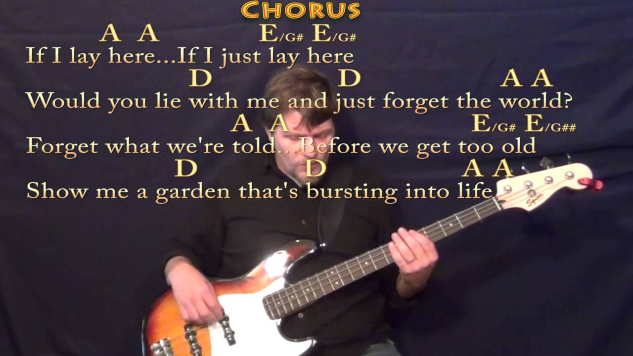 Chasing Cars Bass Guitar Cover Lesson With Lyrics And Chords Youtube