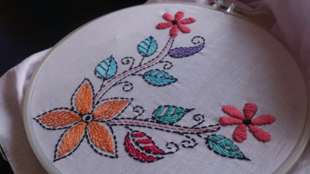 Hand Embroidery Embroidery For Cushion Covers Kantha Work Youtube