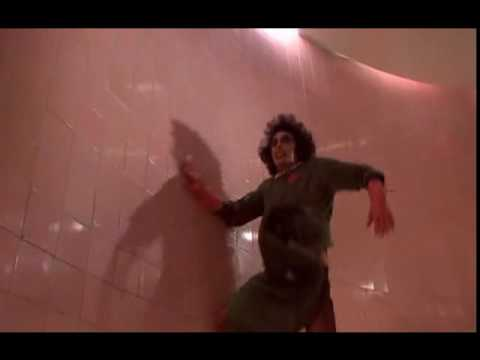 Dr. Frank-N-Furter chasing Rocky
